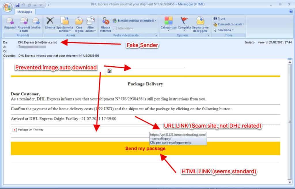 Truffa con email DHL